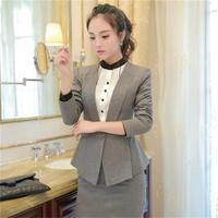 2018 New fashion business women's office suit skirt with Half sleeves blazer set plus size jacket and skirts work wear uniform