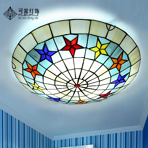 European pastoral balcony hallway hallway bedroom hall round led ceiling Tiffany children room lamps
