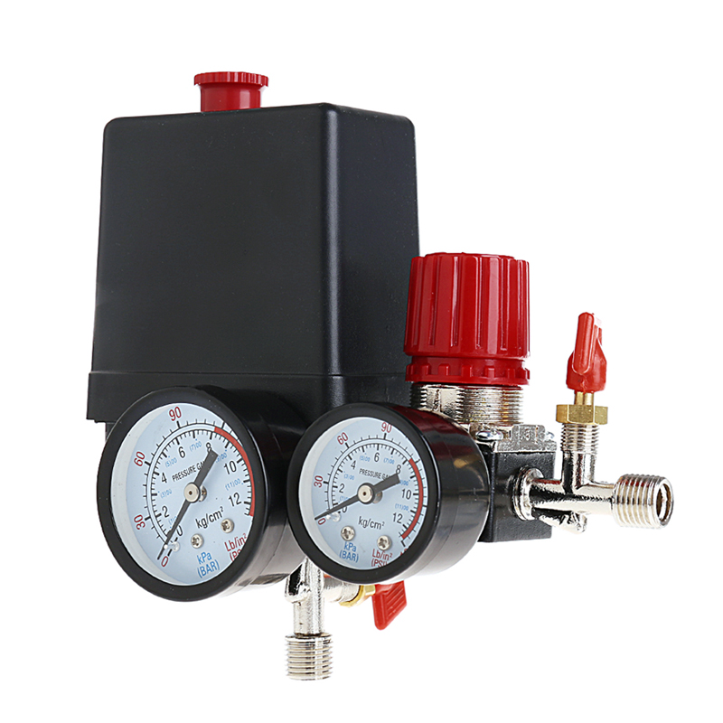 Free Shipping Air Compressor Pressure Valve Switch Manifold Relief Regulator Gauges 120PSI