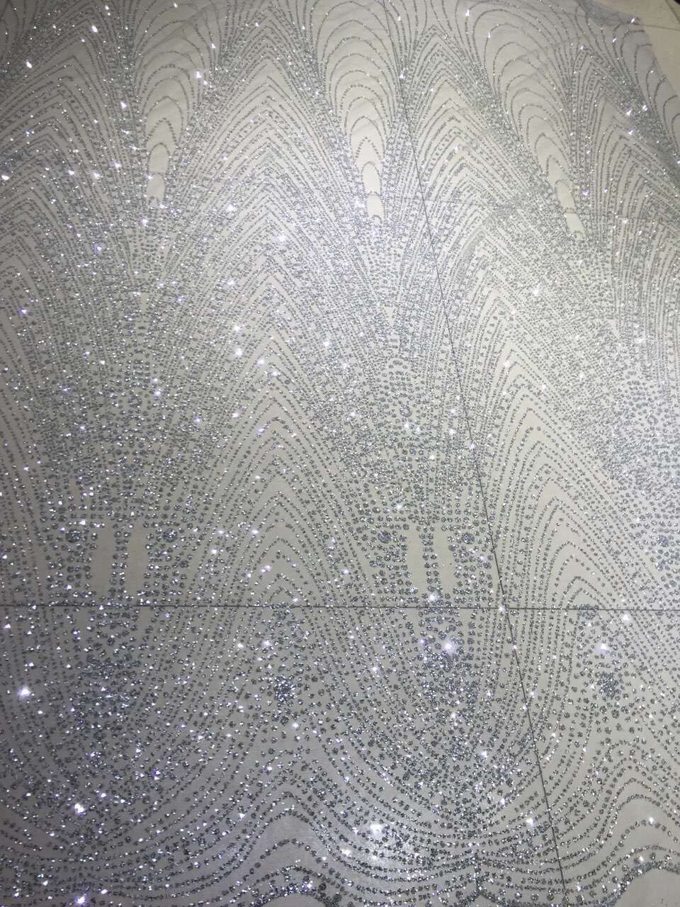 LJY 9545 Embroidery African Nigerian Guipure Lace Fabric with glitter Nigerian Guipure Lace Fabric