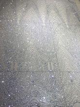 LJY 9545 bordado africano tecido de renda guipure nigeriano com glitter tecido de renda guipure nigeriano
