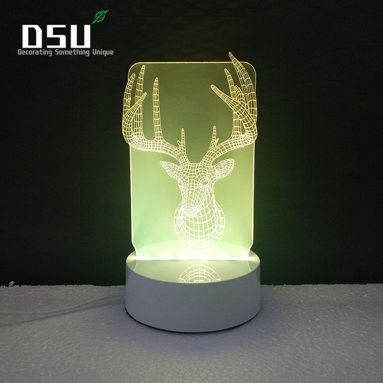The Head of Elk 3D Glow LED Lighting Toys Night Light with 7 Colors Changing Xmas Lamp with Remote Control