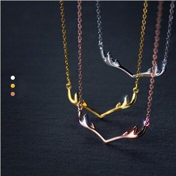 5f5317918432 Romad 925 Deer cuerno colgantes y collares para las mujeres tres colores collar  mujeres collar regalo de Navidad R4