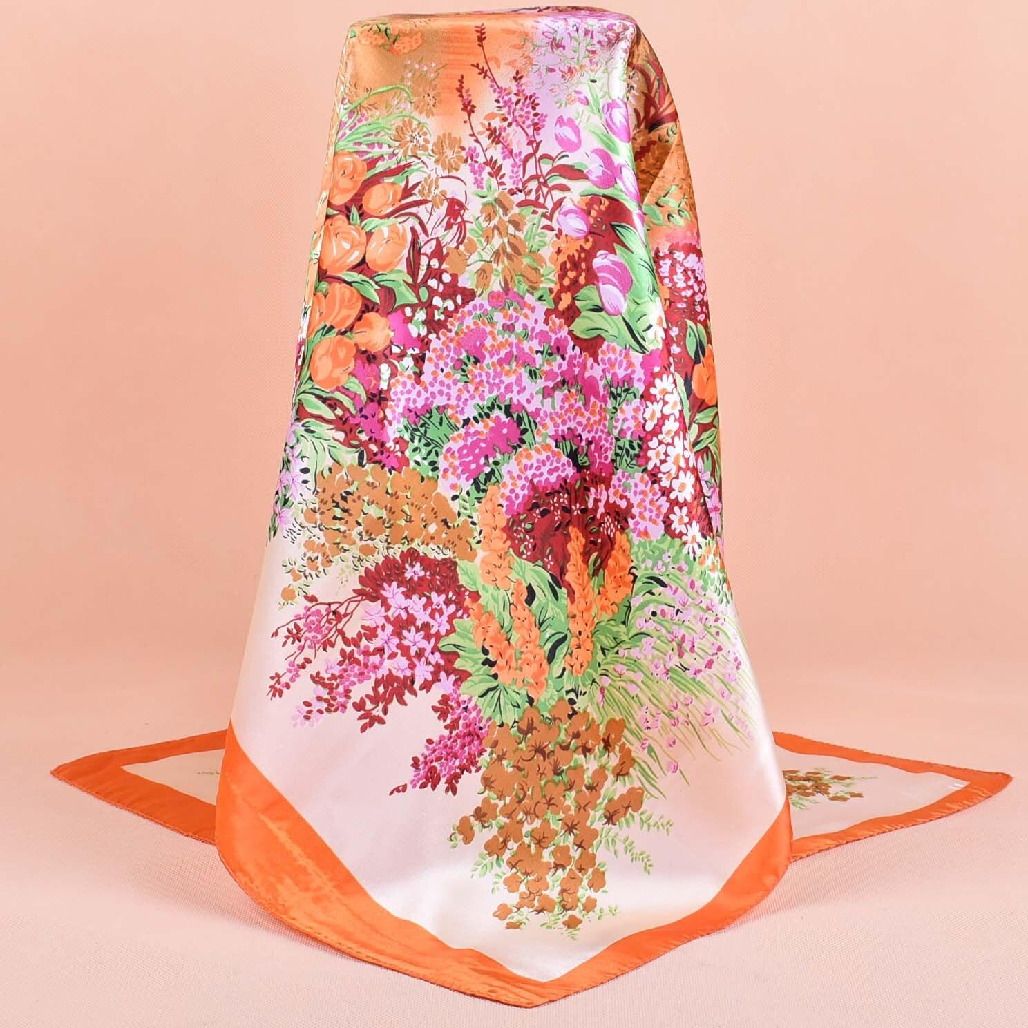 2019 NEW 90cm*90cm New Luxury Print Brand Frame Plaid Striped Women Twill Silk Scarf Small Square Scarves Hijab Headband