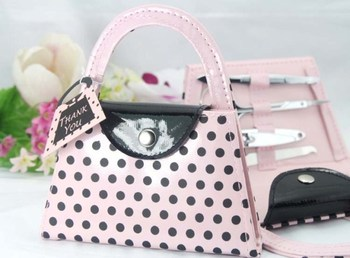 wedding favor Pink Polka Dot Purse Manicure Set bridal shower favor gifts wedding party favor 20pcs/lot Free sgipping