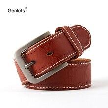belt men  genuine leather belts for vintage buckle jeans strap good quality cowhide luxury designer 125 cm length new