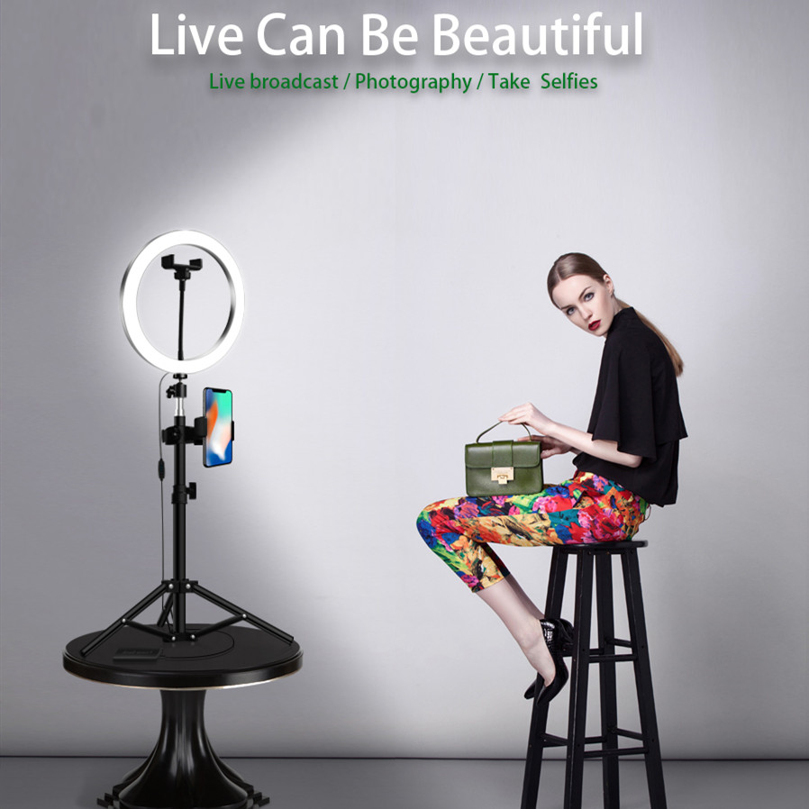 KARRONG LED Ring Light 16/20/26cm 64 LED Selfie Ring Lamp Photographic Lighting With Tripod Phone Holder USB Plug Photo Studio