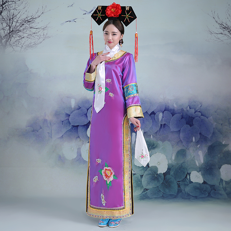 Pourpre chinois ancienne dynastie Qing cheong-sam robe Infanta princesse dramaturgique robe Photo robe Cosplay taille unique 081805