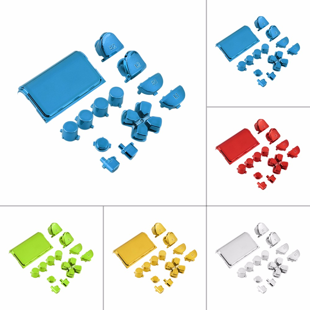 New Colorful Full Chrome Button Replacement Mod Game Kit for Playstation 4 for PS4 Controller Joystick Video Game Playstation
