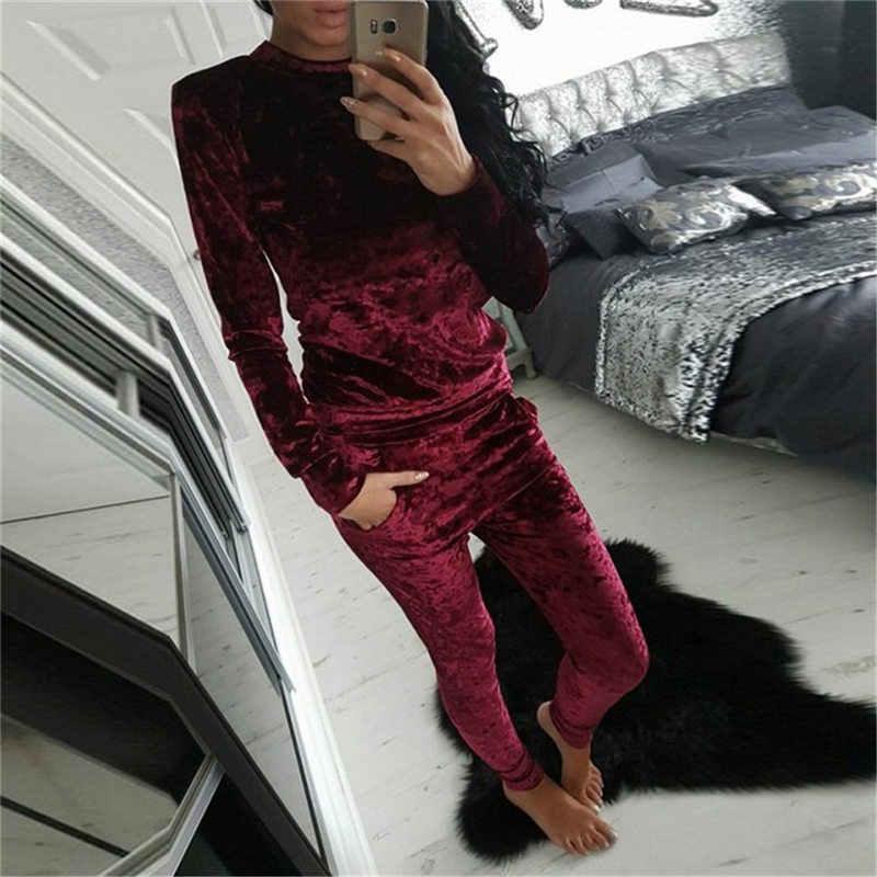 羅沙 3XL 6 色ベルベットトラックスーツの女性衣装ベルベットセットロングスリーブトップ + パンツベロアトラックスーツセット女性スポーツスーツ