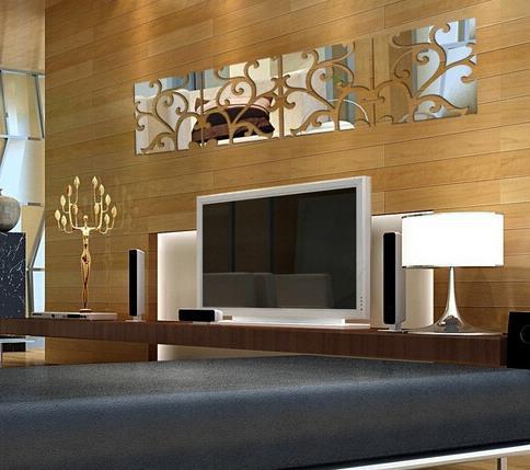 big acrylic wall sticker silver mirror wall stickers home decor wall
