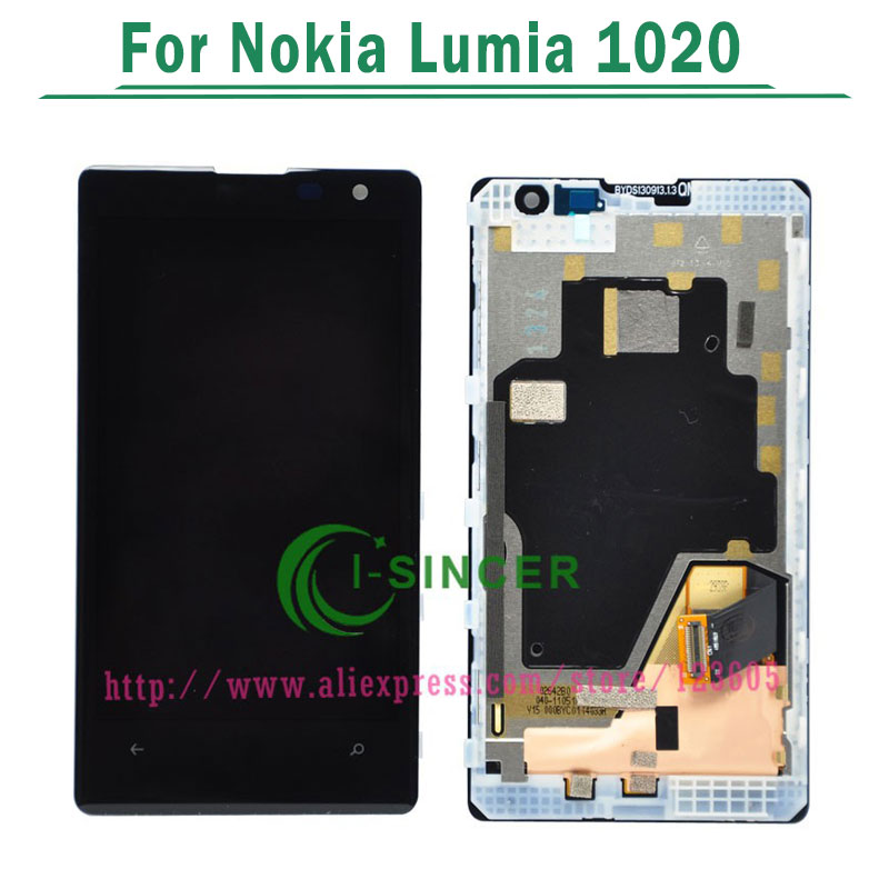 5/PCS For Nokia Lumia 1020 LCD Display with Touch Screen Digitizer with frame Assembly Replacement Parts Black color Free DHL