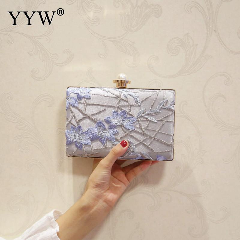 YYW 2018 mode boîte pochette claire chaîne épaule brodée forme carrée Floral sacs de soirée bleu rouge femme dentelle pochettes