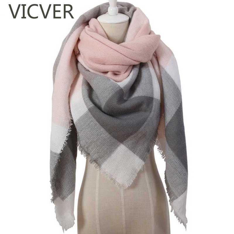 2018 Winter Triangle   Scarf   For Women Long Knit Wool Shawl Plaid Cashmere   Scarves   Brand Designer Warm Knitted   Scarf     Wrap   Blanket