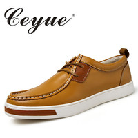 Ceyue New Lace Up Leisure Leather Shoes For Men Outdoor Fashion Casual Flat Shoes Summer Men