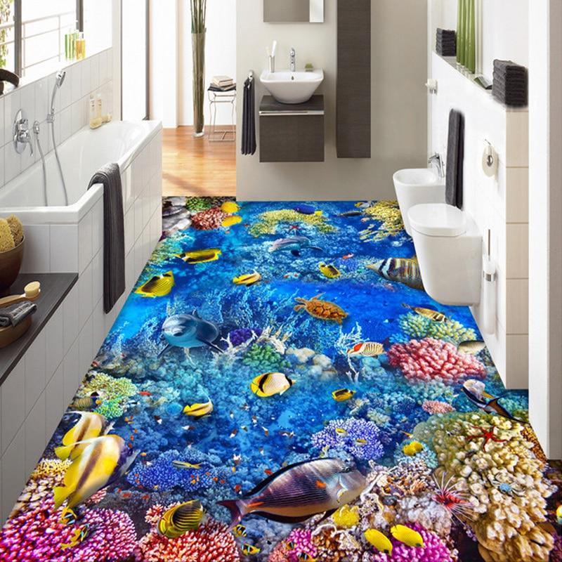 Underwater World Custom Mural Wallpaper 3D Stereoscopic Dolphin Sea Turtle Bathroom PVC Self-adhesive Waterproof Floor Wallpaper