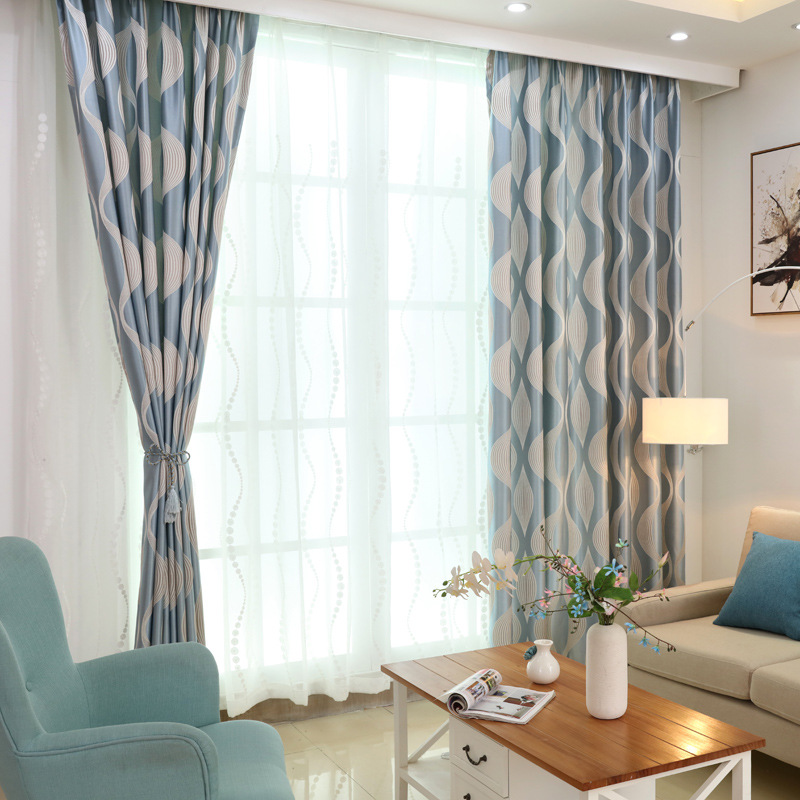 Luxurious European Style Modern Simple Striped Wave Jacquard Curtains Blue Stirped Window