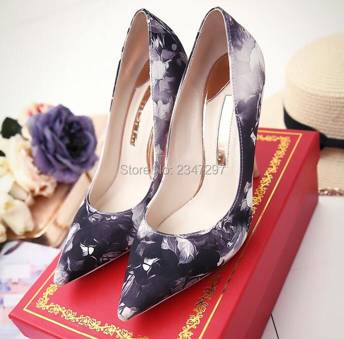 a1fefa7fbe6a 2016 Autumn Women Floral Pumps Office Lady Shoes Pointed Toe Thin High Heel  Women Wedding Pumps Dress Shoes Flower Shoes-in Women s Pumps from Shoes on  ...