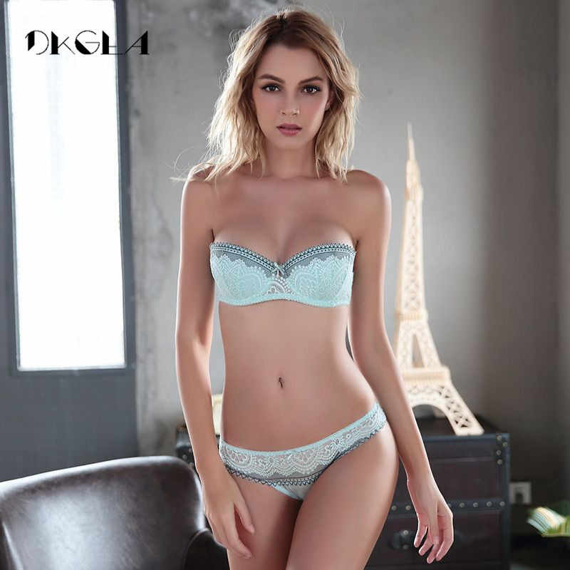 New young Half Cup bra set Plus Size D E cup Plunge thin womens bras Sexy  lace a16d9fb95