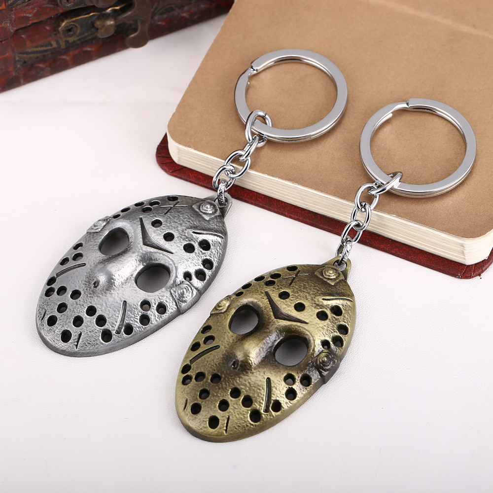 HSIC JEWELRY 10pcs/lot Movie Fans Gifts Jewelry Friday the 13th Mask Keychain Silver Metal Key Rings Chaveiro 2 Colors HC10796