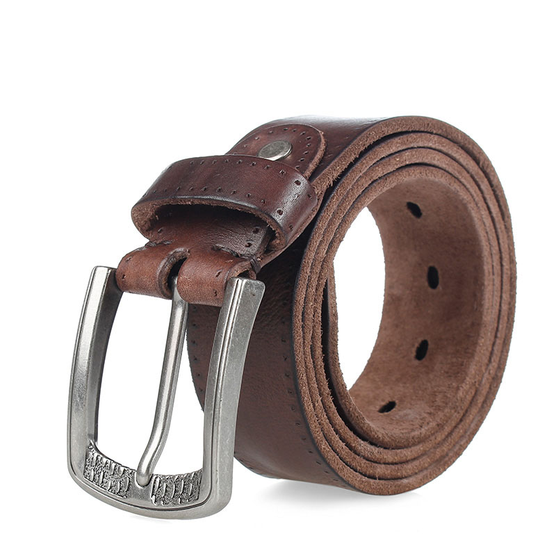 new men 39 s cowhide leather belt luxury genuine leather belts for men pin buckle jean buckle strap brown colors cintos in Men 39 s Belts from Apparel Accessories