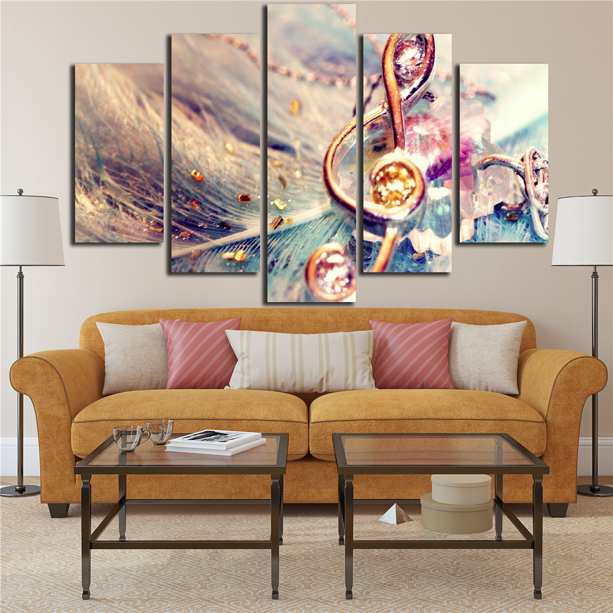 Vintage Poster 5 Piece Musical Note Wall Art On Canvas