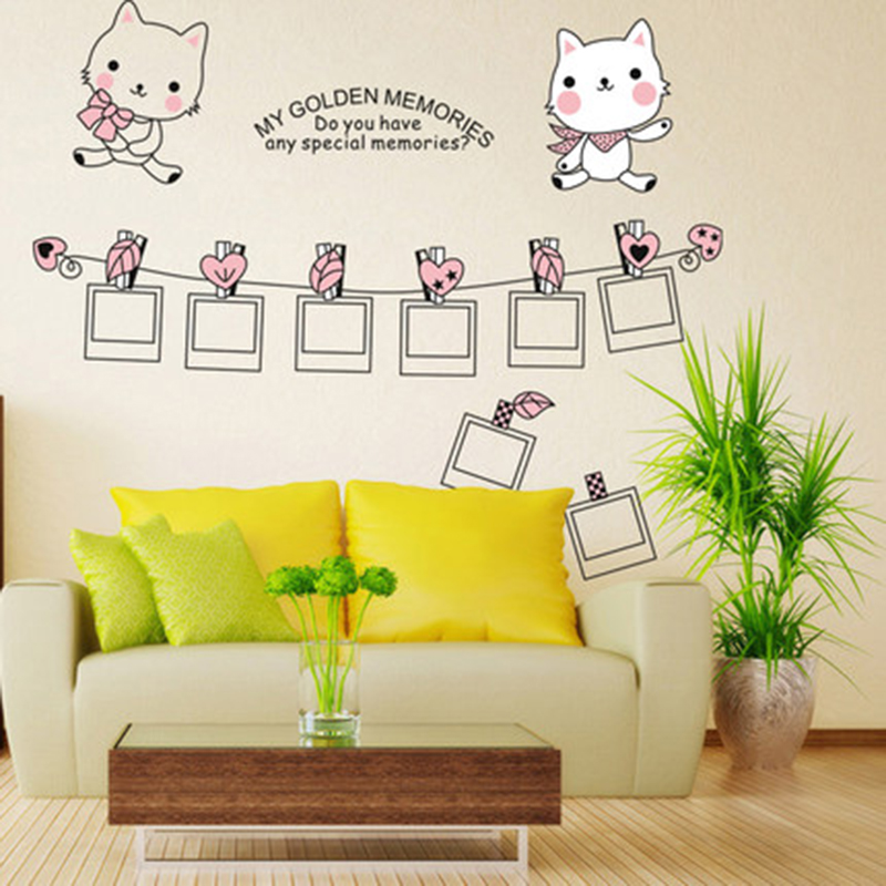 Bedroom living room TV wall decoration stickers simple kittens frame ...