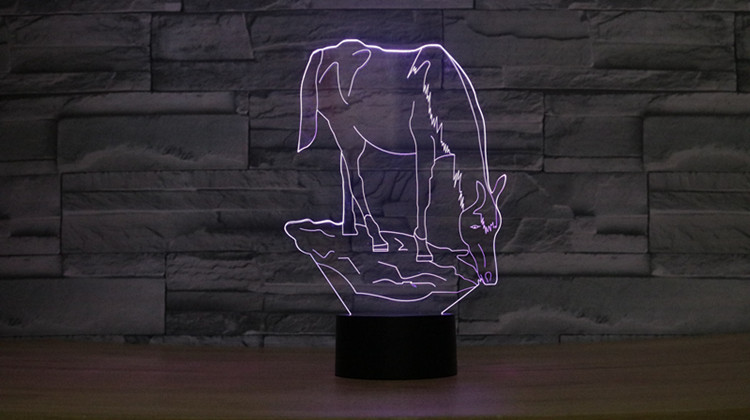 3D LED Night Light Horse 7 Color Dimming illusion Bedroom Lamp Holiday Light Child Kids Toys For Party in LED Night Lights from Lights Lighting