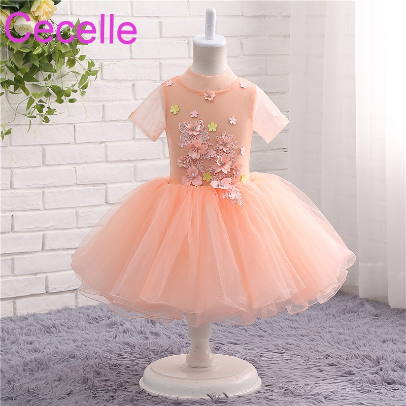 Coral Ball Gown Short Flower Girls Dress For Wedding Short Sleeves ...