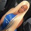 ISHE Saç Düz 613 Sarışın tam sırma insan saçı peruk Olmayan Remy Saç Brezilyalı Peruk Bebek Saç Ön Koparıp Saç Çizgisi 150% yoğunluklu