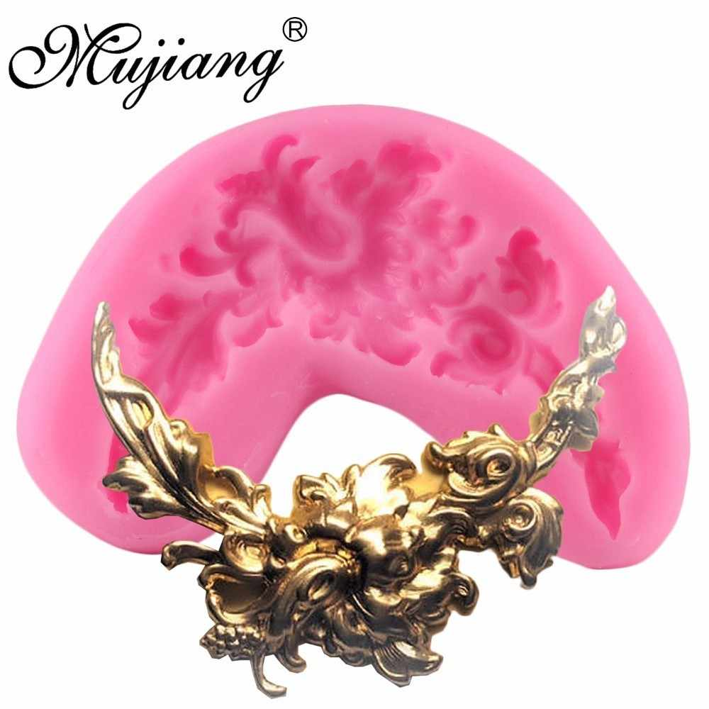 Mujiang DIY Swag ดอกไม้แม่พิมพ์ซิลิโคน Scroll มุมดอกไม้ Fondant Candy Chocolate Cupcake เบเกอรี่เค้กตกแต่งเครื่องมือ
