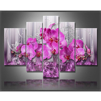 5D Square Drill Modern Home Decoration Diy Diamond Painting Pink Flowe Needlework Full Diamond Embroidery RS57