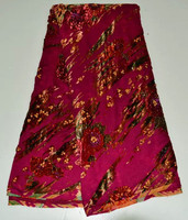 High class fuchsia African velvet lace fabric with sequins and red flower velveteen material for dress 5V08 WN(5yards/pc)