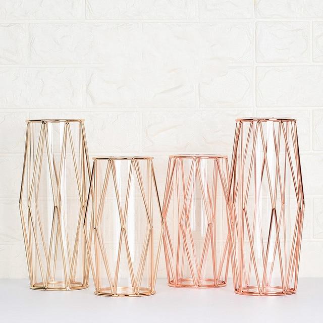 Modern Fashion Champagne Gold Hydroponic Flower Pot Vase Nordic Iron Rose Gold Vase Study Hallway Roon Home Wedding Decoration 1