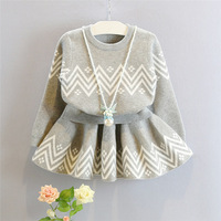 Baby Autumn Winter Girls Clothing Set Kids Cotton 2 pcs Cloths Children Outfits Shirt + Skirt Sweater Suit for Girls Knitted