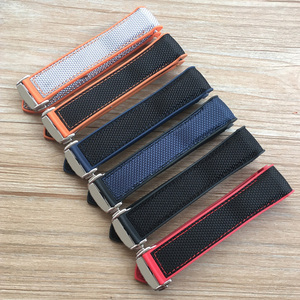 Image 1 - 20mm 22mm Orange Blue Red Rubber Silicone With Nylon Watch Band Strap For OMEGA Planet Ocean Seamaster 300 Speedmaster Bracelet