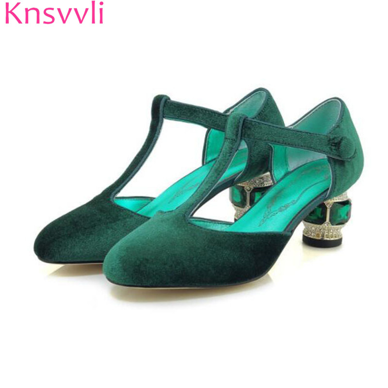 2019 crystal high heel shoes woman luxurious gemstone heel buckle banquet party shoes women pumps green