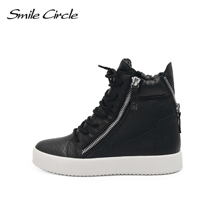 Smile Circle Women Wedge Sneakers High-top Spring/Autumn PU Leather Fashion Casual Platform Shoes Women sneakers black white smile circle women suede leather sneakers fashion casual flat platform shoes women sneakers spring autumn 2018