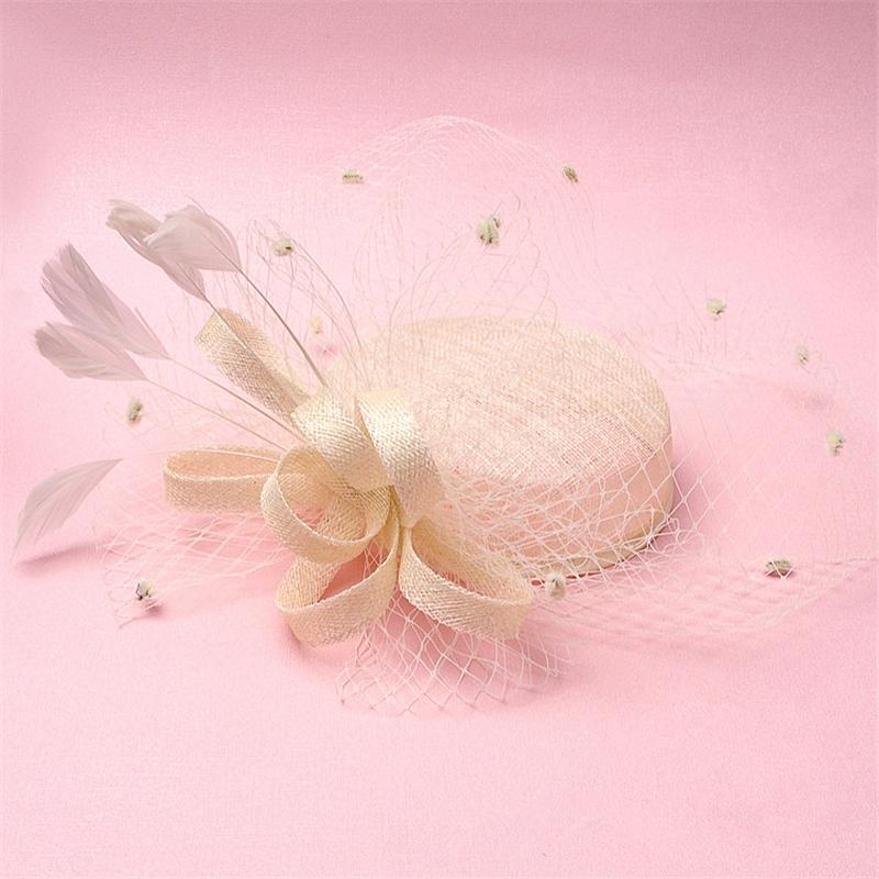 Ivory Sinamay Feather Fascinator Hair Accessories Bridal Birdcage Veil Hat Wedding Hats And Fascinators Chapeu Cabelo WIGO0702 wholesale royal women fascinators wedding races sinamay cocktail fascinator women linen feather hat wedding party hair accessory