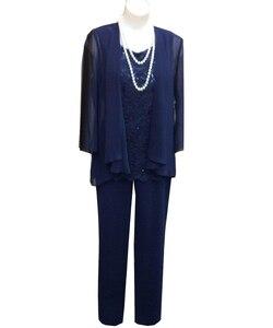 Image 4 - Costume pour mère de mariée, 3 trois pièces avec veste, costume pantalon, tenue formelle de soirée, dentelle pour mariage, marié musulman, SLD M01
