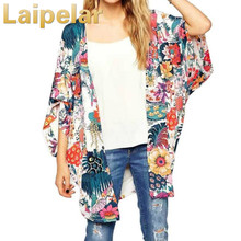Bohemia Style Floral Print Bat Sleeve Kimono Long Wrap Summer Jacket Boho Women Outerwear Beach Hippie Cardigan Chiffon Kimono