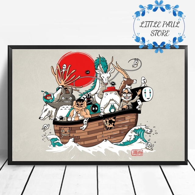 Japanese art Hayao Miyazaki movie Cartoon character poster Art Canvas Poster Art poster Wall Pictures for Living Room No Frame image