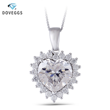 DovEggs Solid 14K White Gold 11X11MM FG Color Moissanite Heart Shaped Halo Moissanite Pendant Necklace for Women with Gold Chain цена 2017