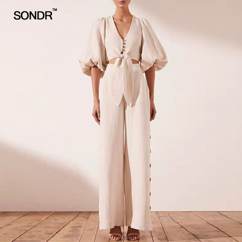 SONDR Fashion Casual Two Piece Sets Female V Neck Puff Half Sleeve Crop Top High Waist Wide Leg Pants Womens Suits 2019