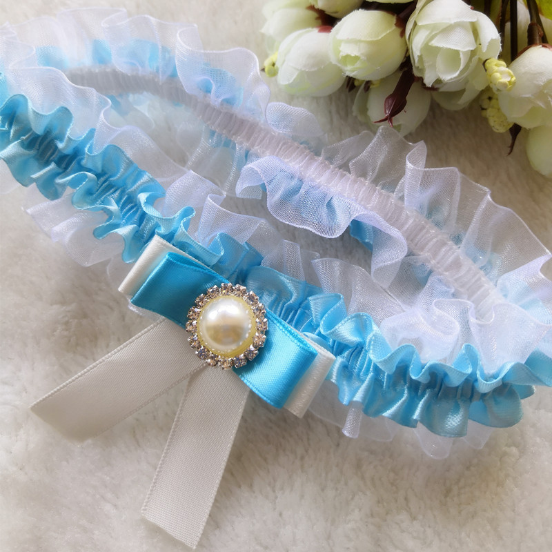 Wedding Garter Bride Bridal Something Blue Bow with Pearl Lace