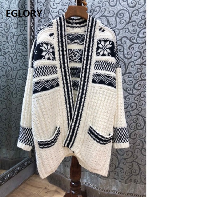 Top Quality Fashion Cardigan Jacket Women Vintage Embroidery Knitting Pocket Patchwork Long Sleeve Casual Wool Cardgian Coats