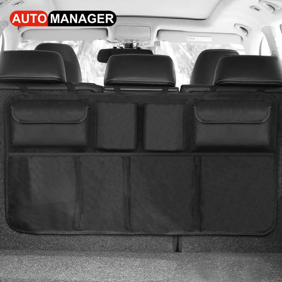 Qiilu 100x40cm Bolsa de almacenamiento de coche Nylon Plastico Red de carga trasera del cami/ón Organizador de equipaje Bolso de gancho Negro