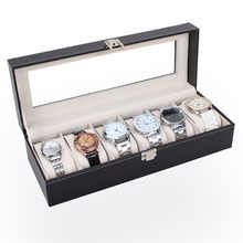 New Arrivals Watch Box 6 Slots Wrist Watches Jewelry Display Storage Organizer Leather Box Case Watch Box Decoration Case(China)