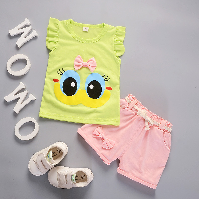 Summer Cute Cartoon 2PCS Kids Baby Girls Floral T shirt Top Shorts Pants Set Clothes Girls Clothing Sets in Clothing Sets from Mother Kids