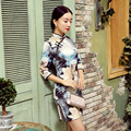 MultiColor New Arrival Chinese FemaleTradition Qipao Half Sleeve Silk Mini Cheong-sam Tang Suit Dress Flower Size S M L XL XXL
